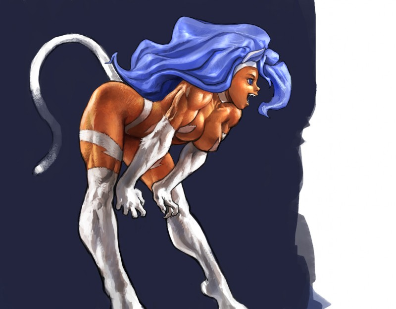 e621 animal_humanoid bent_over biceps blue_eyes blue_hair breasts capcom cat_humanoid cat_tail darkstalkers fangs felicia_(darkstalkers) feline female hair hi_res humanoid long_hair mammal muscular muscular_female open_mouth pokkuti solo standing video_games
