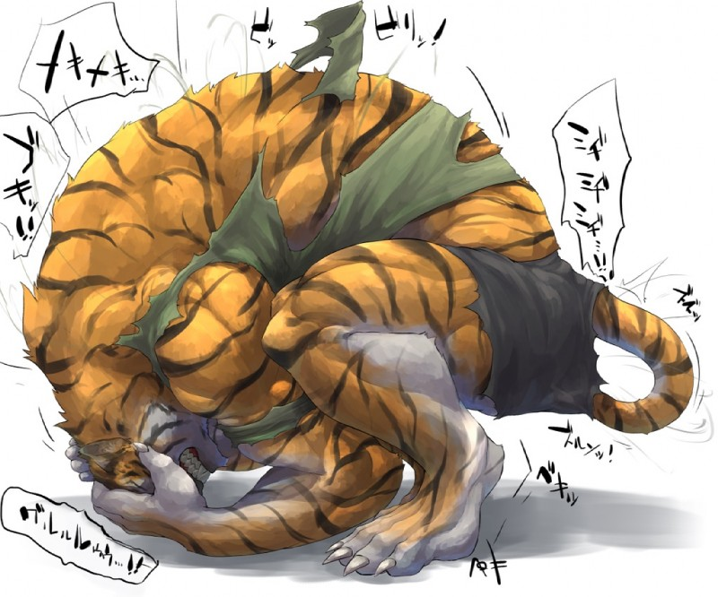 e621 4_toes anthro barefoot biceps captainjohkid claws clothed clothing digitigrade eyes_closed fangs feline fur growth japanese_text male mammal muscle_growth muscular orange_fur pants shirt simple_background solo stripes tail_growth teeth text tiger toes torn_clothing transformation translation_request weretiger white_background white_fur