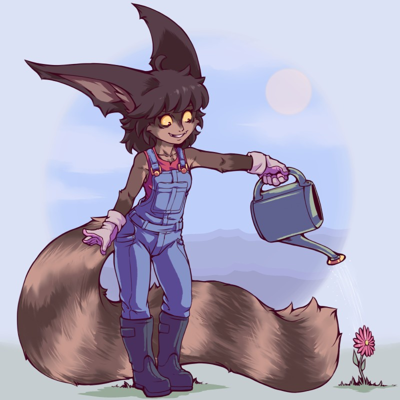 e621 2018 absurd_res anthro big_ears biped boots cheek_tuft chest_tuft clothed clothing cute_fangs digital_media_(artwork) felid female flower footwear front_view full-length_portrait fully_clothed gloves hi_res holding_object knee_boots long_tail mammal overalls plagueofgripes plant portrait red_eyes simple_background smile solo standing tailypo tuft watering_can weysa_(plagueofgripes) yellow_sclera
