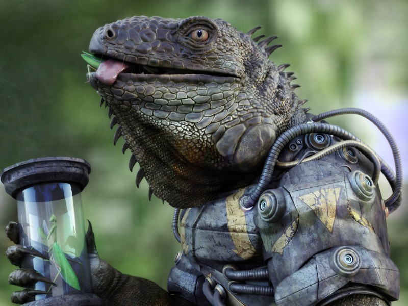 e621 3d_(artwork) 4:3 ambiguous_gender anthro antonio_peres armor arthropod body_in_mouth claws detailed digital_media_(artwork) eating food glass hi_res iguana insect lizard machine mantis power_armor realistic reptile scalie solo tube