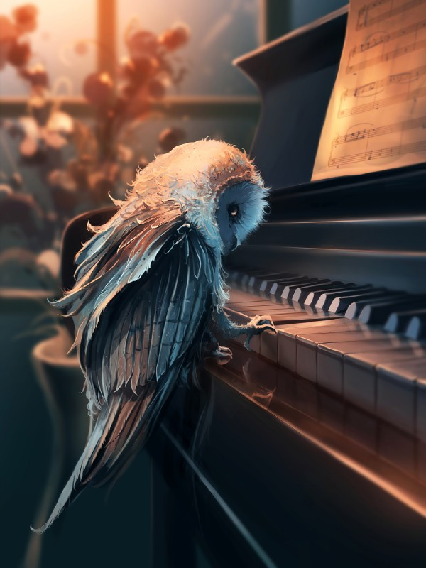 e621 ambiguous_gender anisodactyl aquasixio avian beak bird detailed_background feathered_wings feathers feral flower grey_feathers hi_res inside musical_instrument musical_note owl piano plant playing_music sheet_music solo standing sunbeam tail_feathers window wings