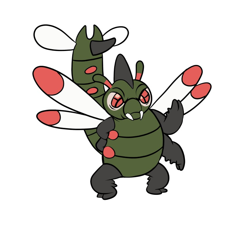 e621 2018 4_arms absurd_res alien ambiguous_gender arthropod digital_drawing_(artwork) digital_media_(artwork) disney experiment_(species) fangs green_body hi_res hybrid insect insect_wings lilo_and_stitch multi_arm multi_limb nintendo pokémon pokémon_(species) precious_(lilo_&_stitch) red_eyes simple_background solo standing tombola1993 video_games white_background wings yanmega