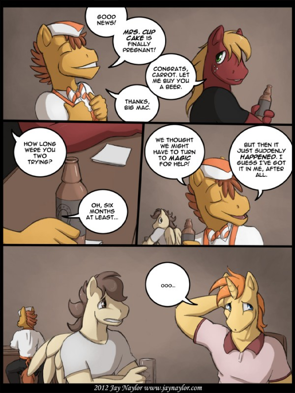 e621 2012 alcohol anthro awkward bar beer beverage big_macintosh_(mlp) blonde_hair blue_eyes brown_eyes brown_hair clothing comic conditional_dnp dialogue digital_media_(artwork) earth_pony english_text equine feathered_wings feathers food freckles friendship_is_magic green_eyes hair hat horn horse humor jay_naylor male mammal mr_cake_(mlp) my_little_pony orange_hair pegasus pony proud shirt text unicorn wings
