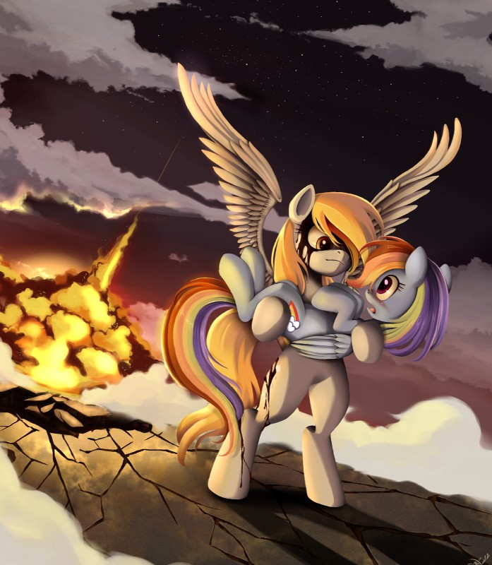 e621 2012 blonde_hair blood blue_feathers blue_fur blush bridal_carry carrying cutie_mark derpy_hooves_(mlp) detailed_background duo equine explosion feathered_wings feathers female feral friendship_is_magic fur grey_fur hair hi_res long_hair mammal multicolored_hair multicolored_tail my_little_pony pegasus ponykillerx purple_eyes rainbow_dash_(mlp) rainbow_hair rainbow_tail standing wings yellow_eyes