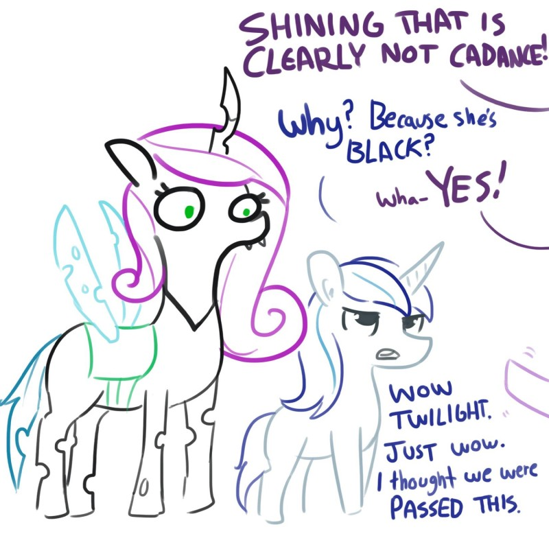 e621 2019 brother changeling dialogue disguise english_text equid fangs feral friendship_is_magic hi_res horn mammal my_little_pony queen_chrysalis_(mlp) shining_armor_(mlp) sibling simple_background sister text tjpones twilight_sparkle_(mlp) unicorn white_background