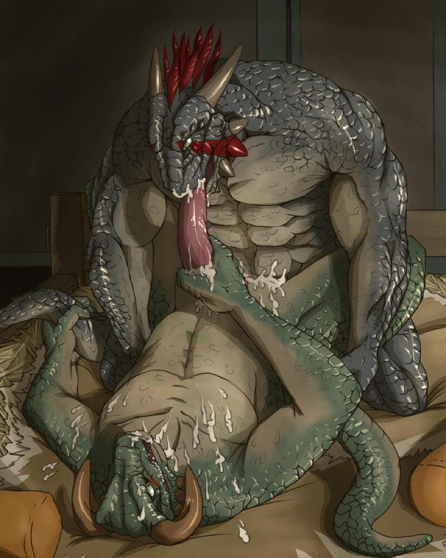 Abs anal penetration anthro argonian ass bed biceps