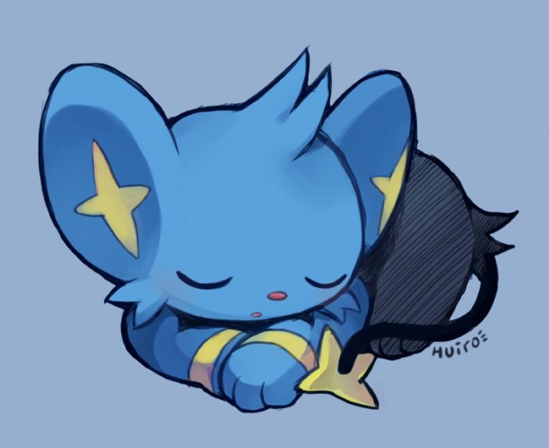 e621 ambiguous_gender blue_background blue_fur cute eyes_closed feline feral fur huiro mammal nintendo pokémon pokémon_(species) shinx simple_background sleeping solo video_games