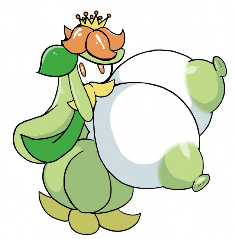 e621 2018 areola big_breasts breasts female flora_fauna flower green_hair green_nipples hair huge_breasts hyper hyper_breasts lilligant mouthless nintendo nipples non-mammal_breasts not_furry petronoise plant pokémon pokémon_(species) simple_background solo standing video_games white_background white_skin