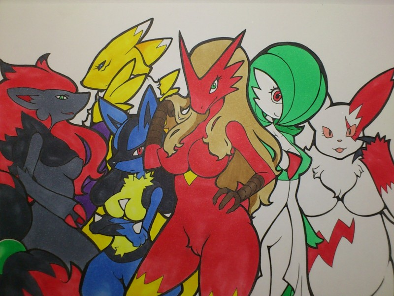 e621 anthro anthrofied blaziken blue_eyes breasts canine chubby claws crossed_arms crossover digimon female fox gardevoir green_eyes group hair kewon lucario mammal nintendo pokémon pokémorph pussy red_eyes renamon traditional_media video_games wide_hips zangoose zoroark