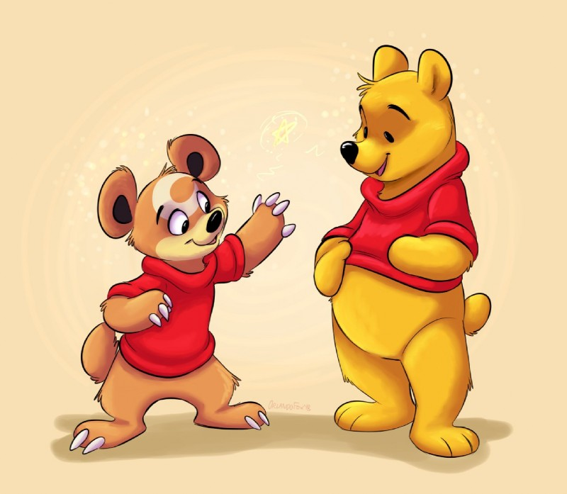 e621 2018 ambiguous_gender anthro bear bottomless brown_fur claws clothed clothing crossover disney fur group mammal nintendo orlandofox pokémon pokémon_(species) pooh_bear simple_background smile standing tan_background teddiursa video_games winnie_the_pooh_(franchise)