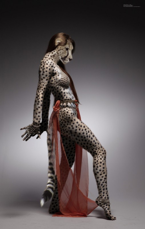 e621 anklet anthro barefoot black_lips black_nose bra breasts brown_hair cheetah clothing colored dancing edit felid feline female hair hi_res jewelry mammal photo_manipulation photomorph pythos-cheetah realistic side_boob side_view simple_background solo spots underwear yellow_eyes
