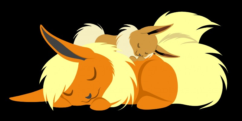 e621 ascar_angainor canine cute duo eevee eeveelution eyes_closed female feral flareon hi_res mammal nintendo pokémon pokémon_(species) simple_background sleeping video_games