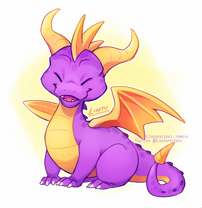 e621 2018 activision ambiguous_gender dragon eyes_closed feral happy horn lintufriikki scalie signature simple_background smile solo spyro spyro_the_dragon video_games western_dragon wings