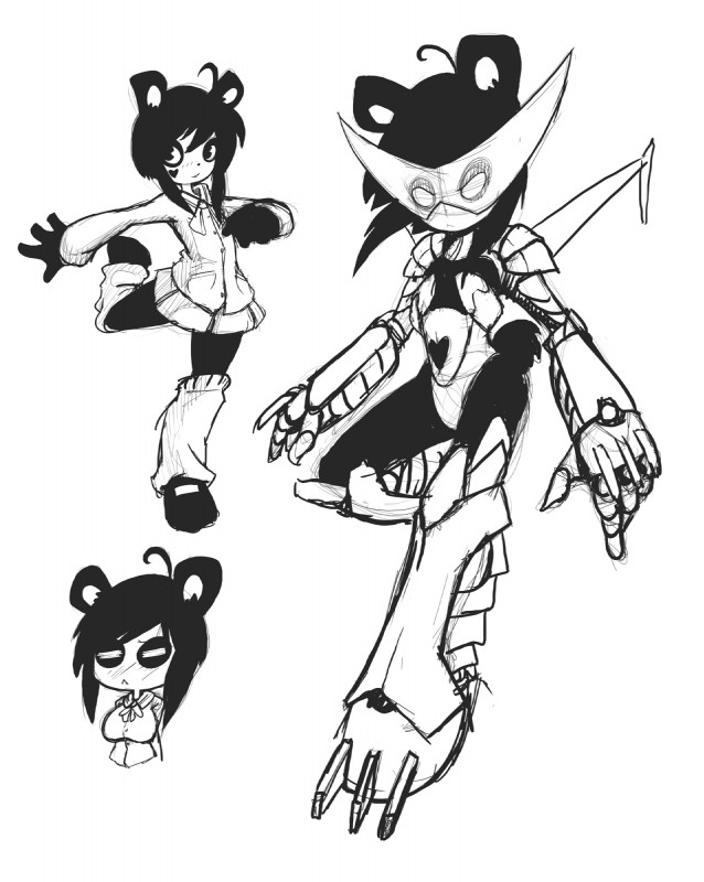 e621 2013 ahoge anthro bear clothed clothing dmxwoops female hi_res ken_ashcorp kenny_(kenashcorp) mammal miniskirt model_sheet panda robot_suit school_uniform simple_background skirt solo uniform white_background
