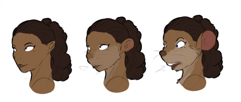 e621 2019 ambiguous_gender anthro black_hair blue_eyes dark_skin hair headshot_portrait human human_to_anthro koopacap mammal mouse open_mouth portrait rodent sequence simple_background smile solo surprise transformation white_background