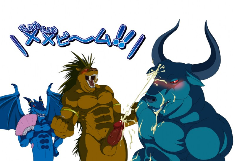 e621 abs animal_genitalia anthro athletic balls biceps big_penis blue_body blue_dragon_(character) blue_dragon_(series) blue_skin blush bovine brown_fur brown_hair circumcised claws cum cum_on_chest cum_on_face cum_on_penis cum_on_stomach cumshot dragon ejaculation erection fangs feline flexing fur glowing glowing_eyes group hair hand_fan horn licking male male/male mammal membranous_wings minotaur minotaur_(blue_dragon) muscular orgasm pecs penis red_eyes saber-toothed_cat saber_tiger_(blue_dragon) scalie sheath standing thick_penis tiger tongue tongue_out unknown_artist vein wings