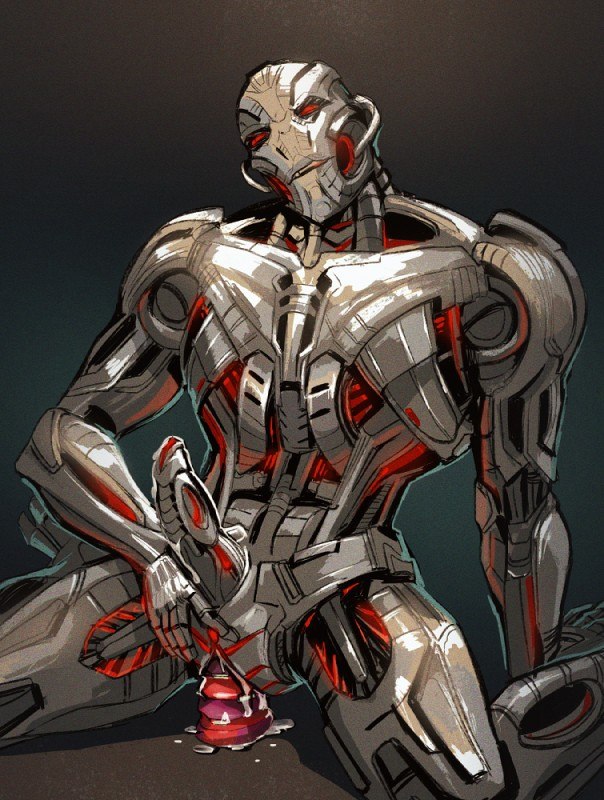 E621 Cum Dildo Dildo_sitting Erection Herm Intersex Machine Maleherm Marvel Metal Not_furry Penetration Penis Red_eyes Robot