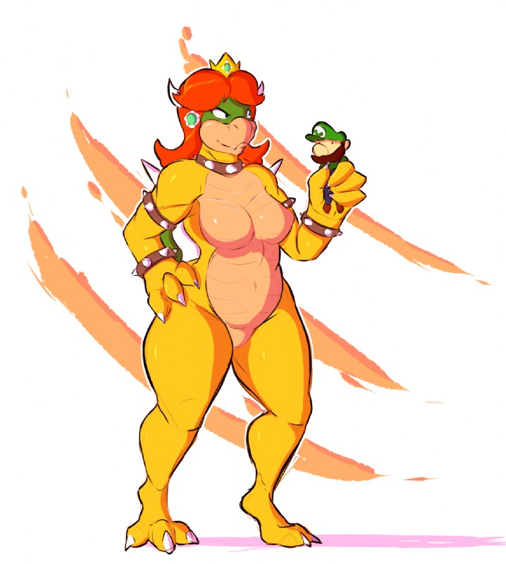 e621 2018 alternate_species anthro big_breasts breasts claws collar crown duo facial_hair featureless_breasts featureless_crotch female hair human koopa koopacap luigi male mammal mario_bros mustache navel nintendo nude princess_daisy princess_koopa red_hair scalie simple_background size_difference spiked_collar spikes standing thick_thighs video_games wide_hips