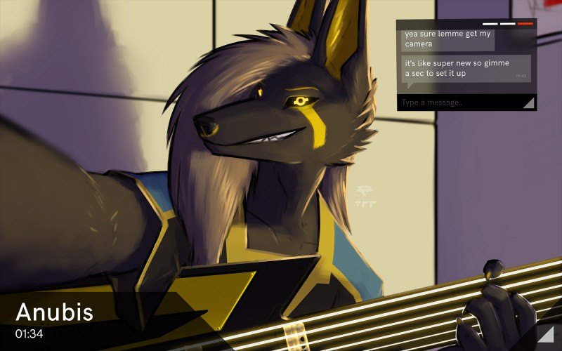 e621 16:10 2017 anthro anu anubian_jackal anubis black_fur black_sclera canine claws clothing cybernetics deity digital_media_(artwork) egyptian fur guitar hair hi_res jackal kavaeric looking_at_viewer machine male mammal musical_instrument p700 playing_guitar playing_music science_fiction smile solo text user_interface