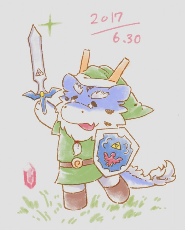 e621 2017 beard braided_hair chibi cute dragon facial_hair fluffy hair horn hylian_shield male master_sword mature_male melee_weapon nintendo old rupee shield sirokitten2 solo sword the_legend_of_zelda video_games weapon とらキトン