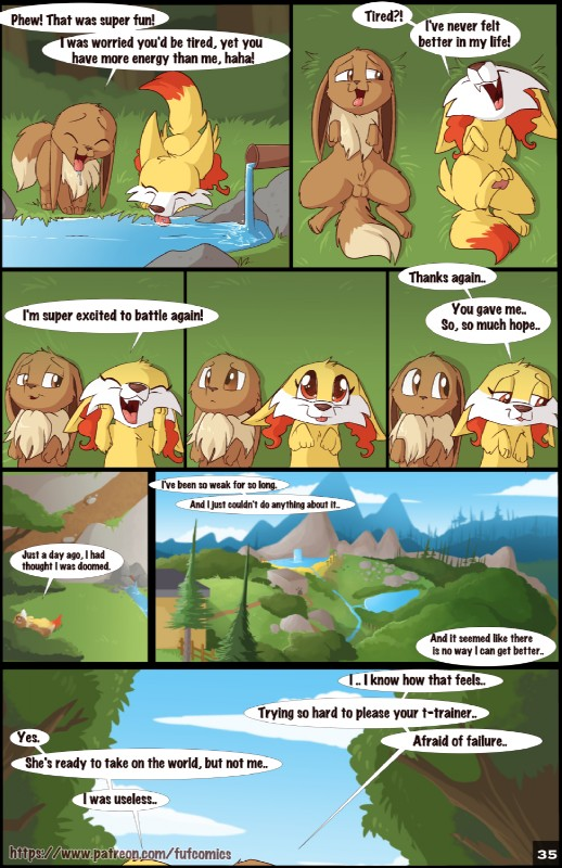 e621 3_toes all_fours animal_genitalia balls begging begging_pose brown_eyes brown_fur chest_tuft cloud comic dipstick_tail drinking duo ears_down eevee female fennekin feral fuf fully_sheathed fur grass head_down hi_res innear_ear_fluff lake looking_away looking_up male mountiains multicolored_tail nintendo on_grass penis pokémon pokémon_(species) raised_tail red_eyes red_fur sheath sky snout speech_bubble spreading spread_legs toes tongue tongue_out tree tuft video_games water white_fur wide_eyed yellow_fur