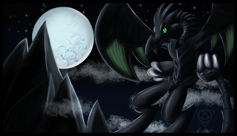 e621 2019 absurd_res anthro big_eyes claws detailed_background digital_media_(artwork) dragon hi_res horn looking_at_viewer male malust monster moon mountain reptile scalie sky smile solo warlocke wings