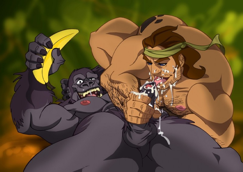 E621 Ape Balls Banana Bandanna Barnaby_kupopo Biceps Brown_hair Cum Cum_on_face Disney Duo Erection