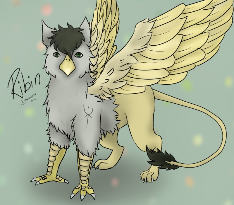 e621 avian beak digital_media_(artwork) drawing fantasy feral form gryphon male ribin solo standing stare tattoo tenshinkun