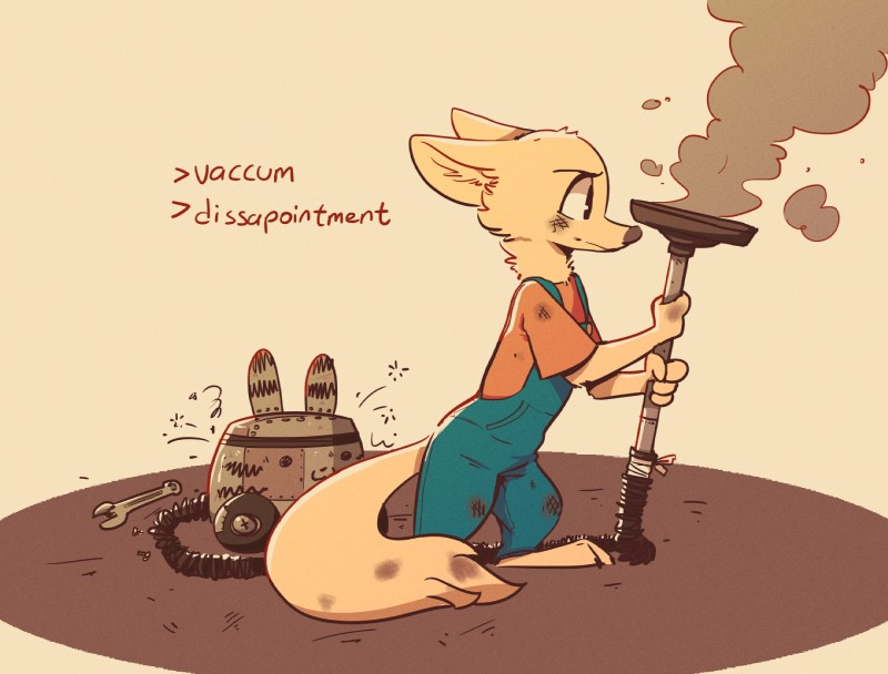 e621 2019 ambiguous_gender anthro arctic_fox barefoot brown_background canid canine cheek_tuft clothed clothing colored dirty disney english_text fox fuel_(artist) head_tuft hi_res holding_object mammal monochrome neck_tuft overalls simple_background skye_(zootopia) smoke solo standing text tools tuft vacuum_cleaner wrench zootopia
