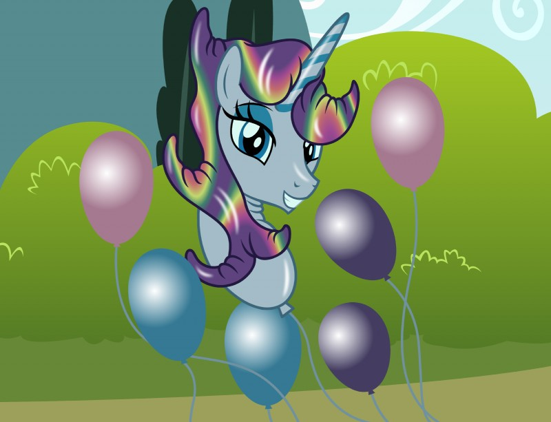 e621 2019 ambiguous_gender animate_inanimate badumsquish balloon blue_eyes blue_eyeshadow equid eyeshadow hi_res horn living_balloon looking_at_viewer makeup mammal my_little_pony solo unicorn